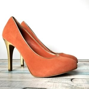 Jessica Simpson Peach Suede Metallic Gold Heel 6.5